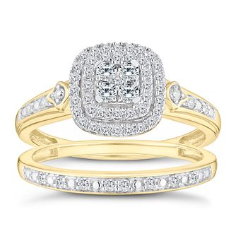 Perfect Fit 9ct Yellow Gold 1/3ct Diamond Cluster Bridal Set - Product number 9788557