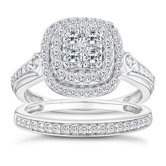 Perfect Fit 9ct White Gold 4/5ct Diamond Cushion Bridal Set - Product number 9788697