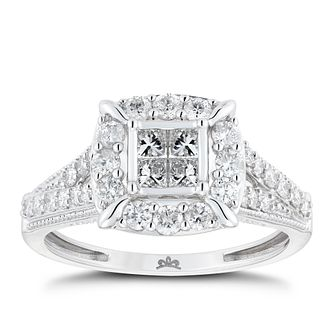 Princessa 9ct White Gold 3/4ct Diamond Cluster Ring - Product number 9788956