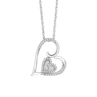 Silver 0.12ct Diamond Heart Pendant - Product number 9789103