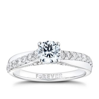 18ct White Gold 1ct Solitaire Forever Diamond Ring - Product number 9789111
