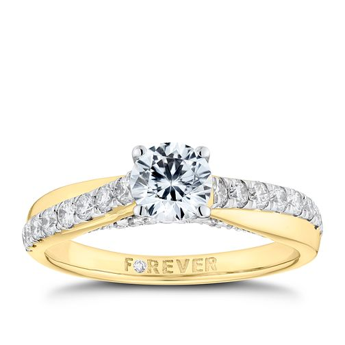 18ct Yellow Gold 1ct Solitaire Forever Diamond Ring - Product number 9789278