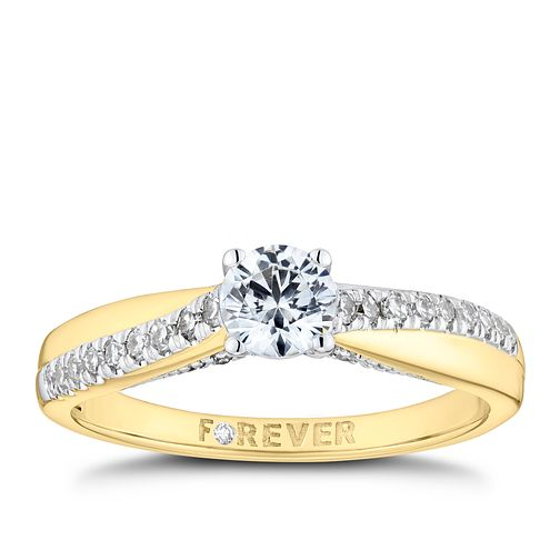 18ct Yellow Gold 1/2ct Solitaire Forever Diamond Ring - Product number 9789413