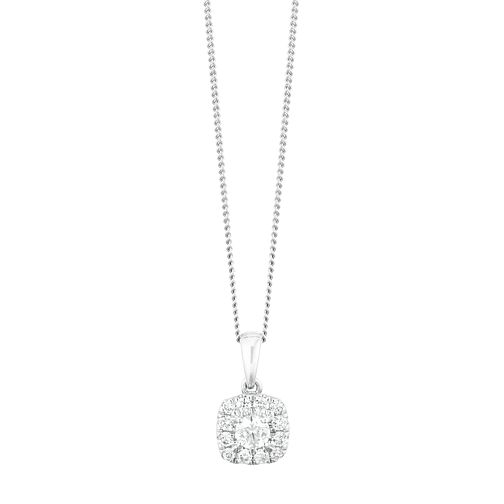 9ct White Gold 1/4ct Forever Diamond Cushion Cut Pendant - Product number 9789626