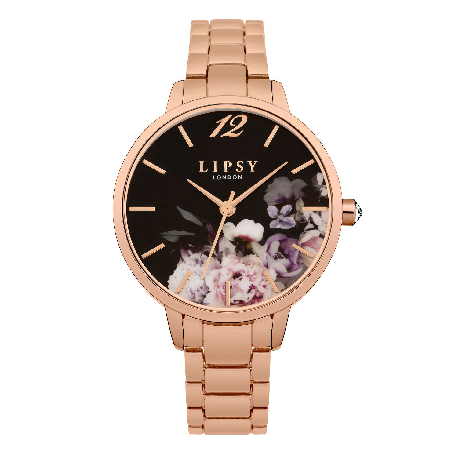 Lipsy Ladies' Rose Gold Tone Black Dial Watch - Product number 9789766