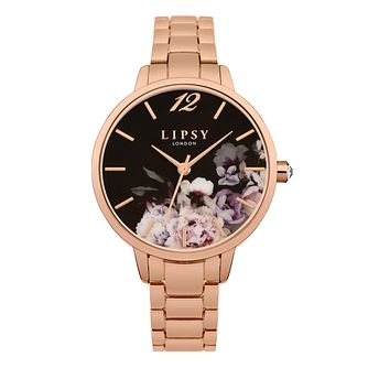 3c3f8578 Lipsy Ladies' Rose Gold Tone Black Dial Watch - Product number 9789766