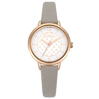 Cath Kidston Metallic Spot Ladies' Grey Leather Strap Watch - Product number 9790020