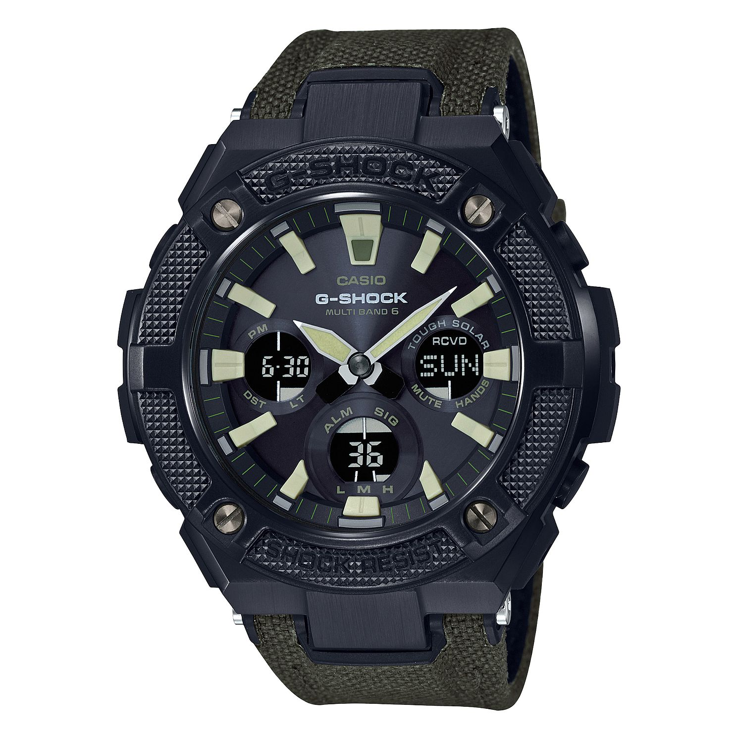 Casio G-Shock G-Steel Green Fabric Black Dial Watch - Product number 9790276