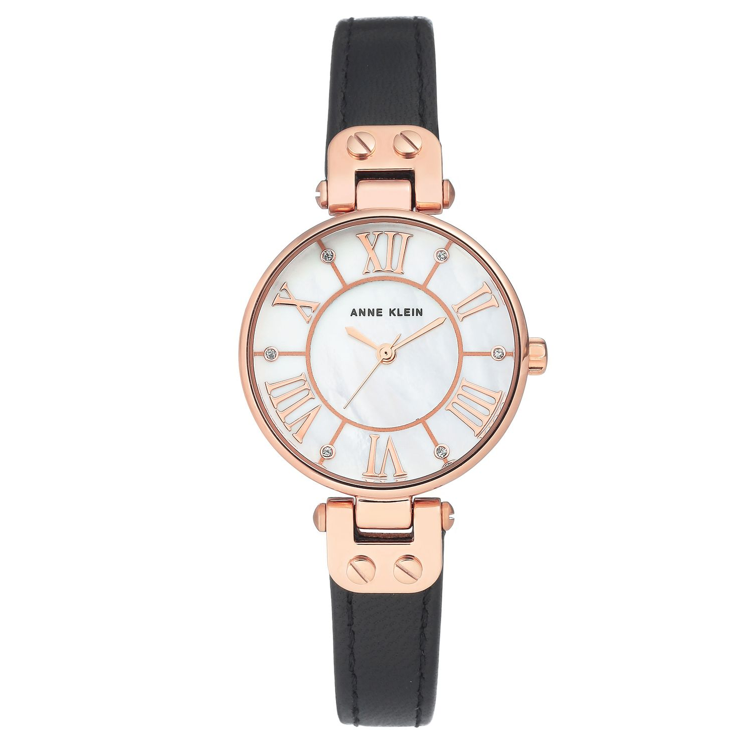 Anne Klein Ladies' Rose Gold Black Leather Strap Watch. - Product number 9790837
