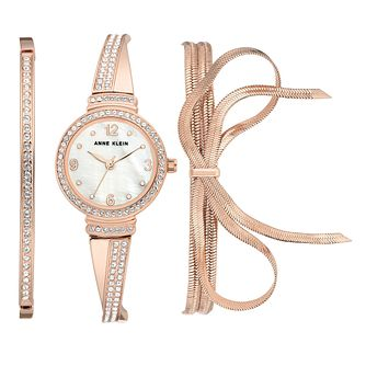 Anne Klein Ladies' Rose Gold 3 Piece Swarovski Watch Set - Product number 9790896