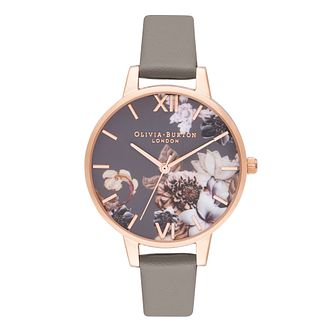 Olivia Burton Marble Florals Grey Leather Strap Watch - Product number 9791167