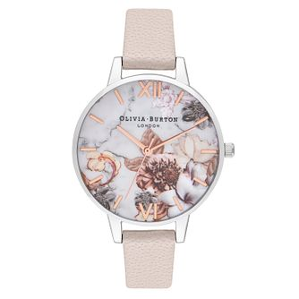 Olivia Burton Marble Florals White Leather Strap Watch - Product number 9791175