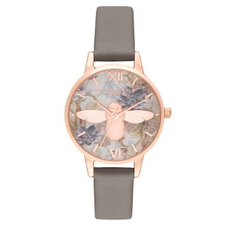 Olivia Burton Marble Florals 3D Bee Grey Leather Strap Watch - Product number 9791183