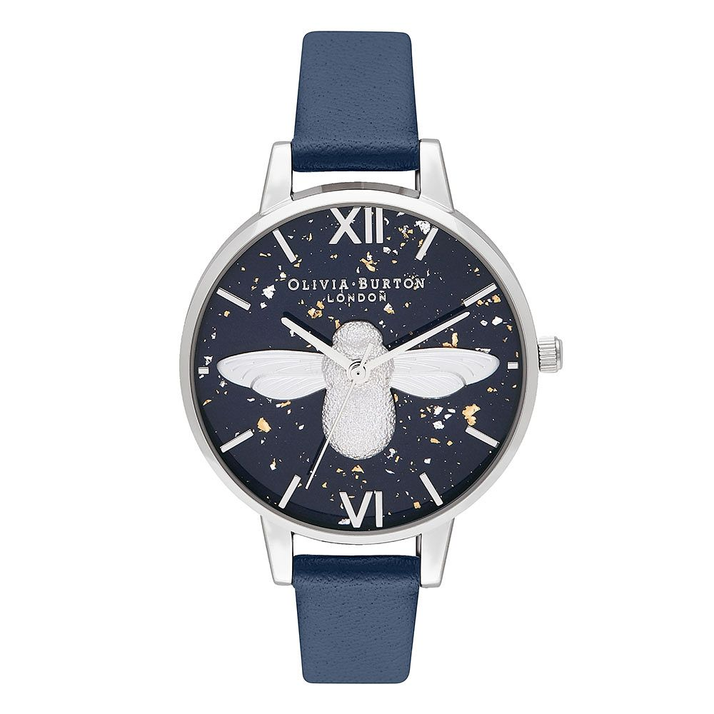 Olivia Burton 3D Bee Ladies' Navy Leather Strap Watch - Product number 9791272