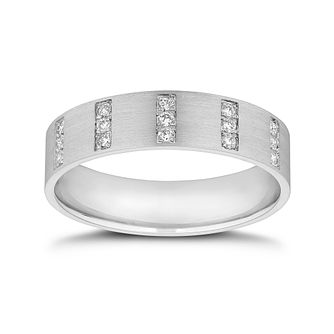 Platinum 0.15ct Diamond 3 Row Wedding Band - Product number 9791558