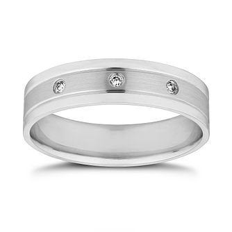 Platinum Diamond 5mm Matt & Polished Wedding Band - Product number 9791892