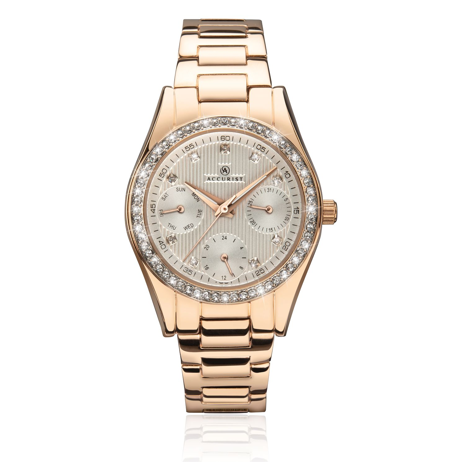 Accurist Ladies' Crystal Rose-Gold Tone Bracelet Watch - Product number 9792821
