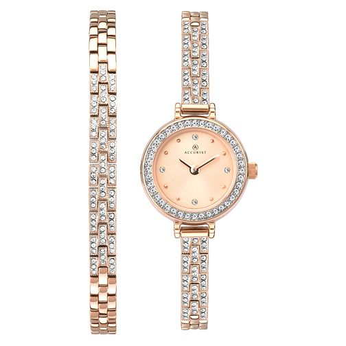 Accurist Ladies' 2-Piece Rose Crystal Bracelet & Watch Set - Product number 9792848