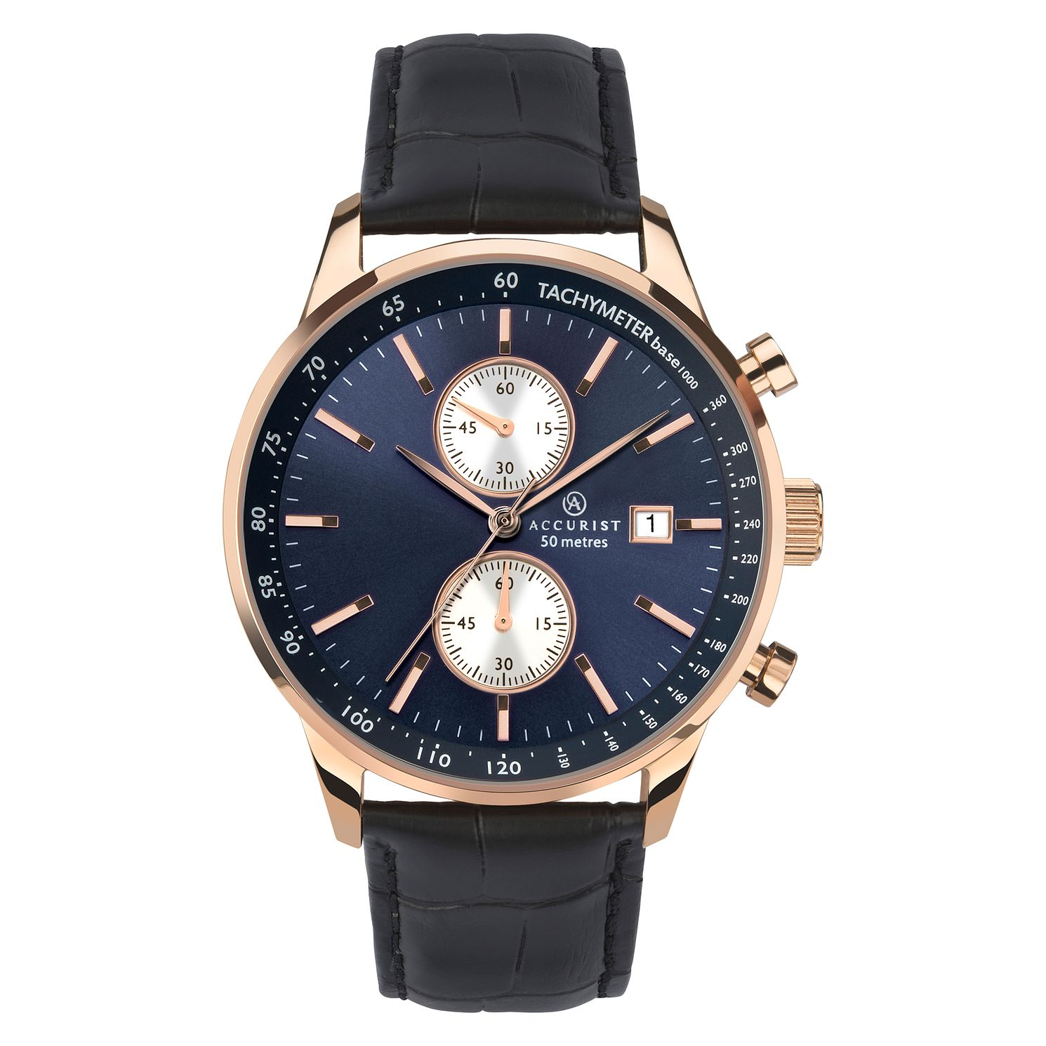 Accurist Men's Chronograph Black Leather Strap Watch - Product number 9792856