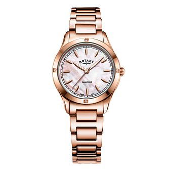 Rotary Ladies' Mother of Pearl Rose Gold Tone Bracelet Watch - Product number 9792910