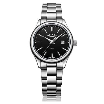 Rotary Ladies' Oxford Black Dial Stainless Steel Watch - Product number 9793291