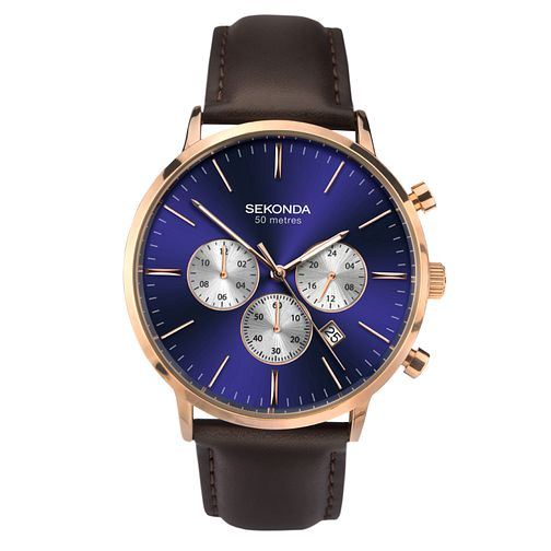 Sekonda Men's Chronograph Dark Brown Leather Strap Watch - Product number 9795146