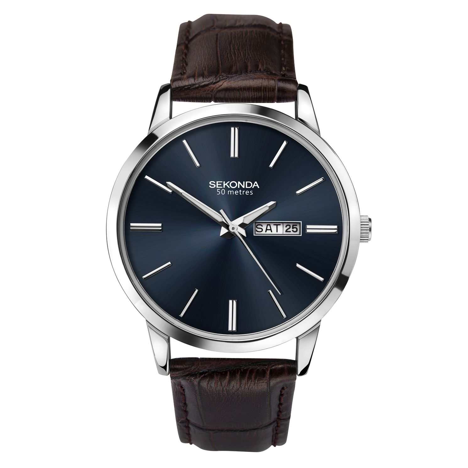 Sekonda Men's Dark Brown Leather Strap Watch - Product number 9795170