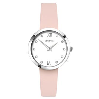 Sekonda Editions Ladies' Pink Leather Strap Watch - Product number 9795227