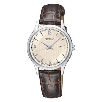 Seiko Ladies Stainless Steel Brown Leather Strap Watch - Product number 9795324
