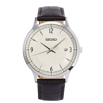 Seiko Men's Stainless Steel Brown Leather Strap Watch - Product number 9795340