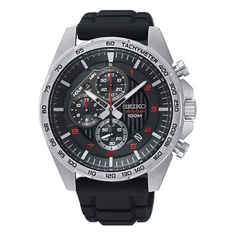 Seiko Men's Chronograph Black Silicone Strap Watch - Product number 9795561