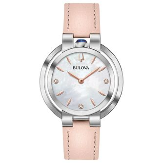 Bulova Ladies' Rubaiyat Pink Leather Strap Watch - Product number 9795650
