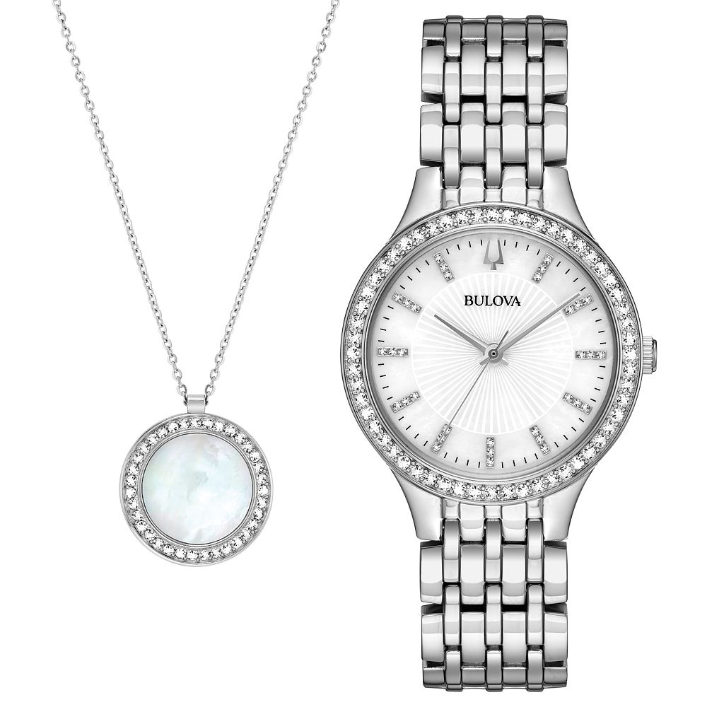 Bulova Ladies' Stainless Steel Crystal Watch & Necklace Set - Product number 9795677