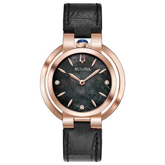 Bulova Ladies' Rubiayat Black Leather Strap Watch - Product number 9795685