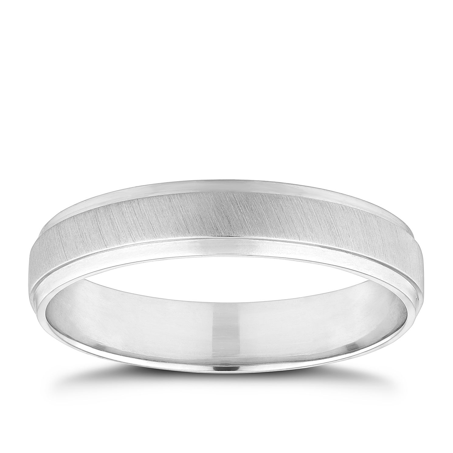 Platinum 4mm Matt & Polished Wedding Band - Product number 9796290