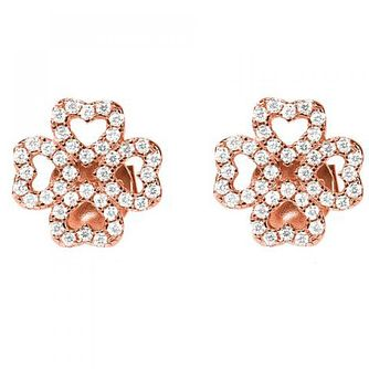 Folli Follie Rose Gold Plated Cubic Zirconia Stud Earrings - Product number 9796738