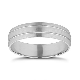 Platinum 5mm Double Groove Wedding Band - Product number 9798870
