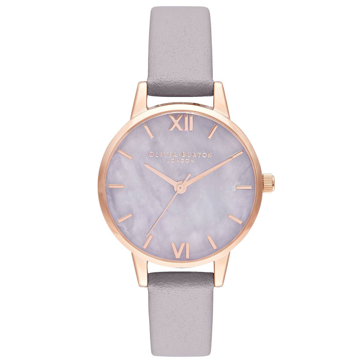 Olivia Burton Semi Precious Lilac Leather Strap Watch - Product number 9799001
