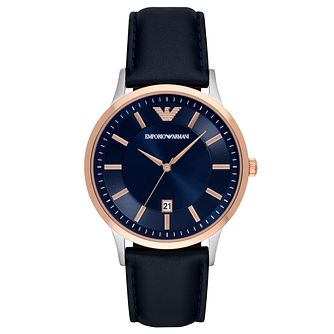 Emporio Armani Men's Two-Tone Case Blue Leather Strap Watch - Product number 9799060