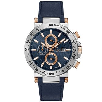 Gc Blue Leather Strap Rose Gold Dial Round Watch - Product number 9800468