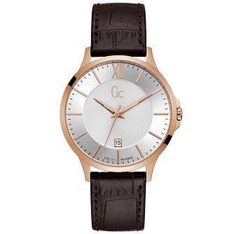 Gc Men's Brown Leather Strap Watch - Product number 9800484