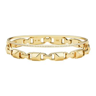 Michael Kors 14ct Gold Plated Silver Mercer Link Bangle - Product number 9800999