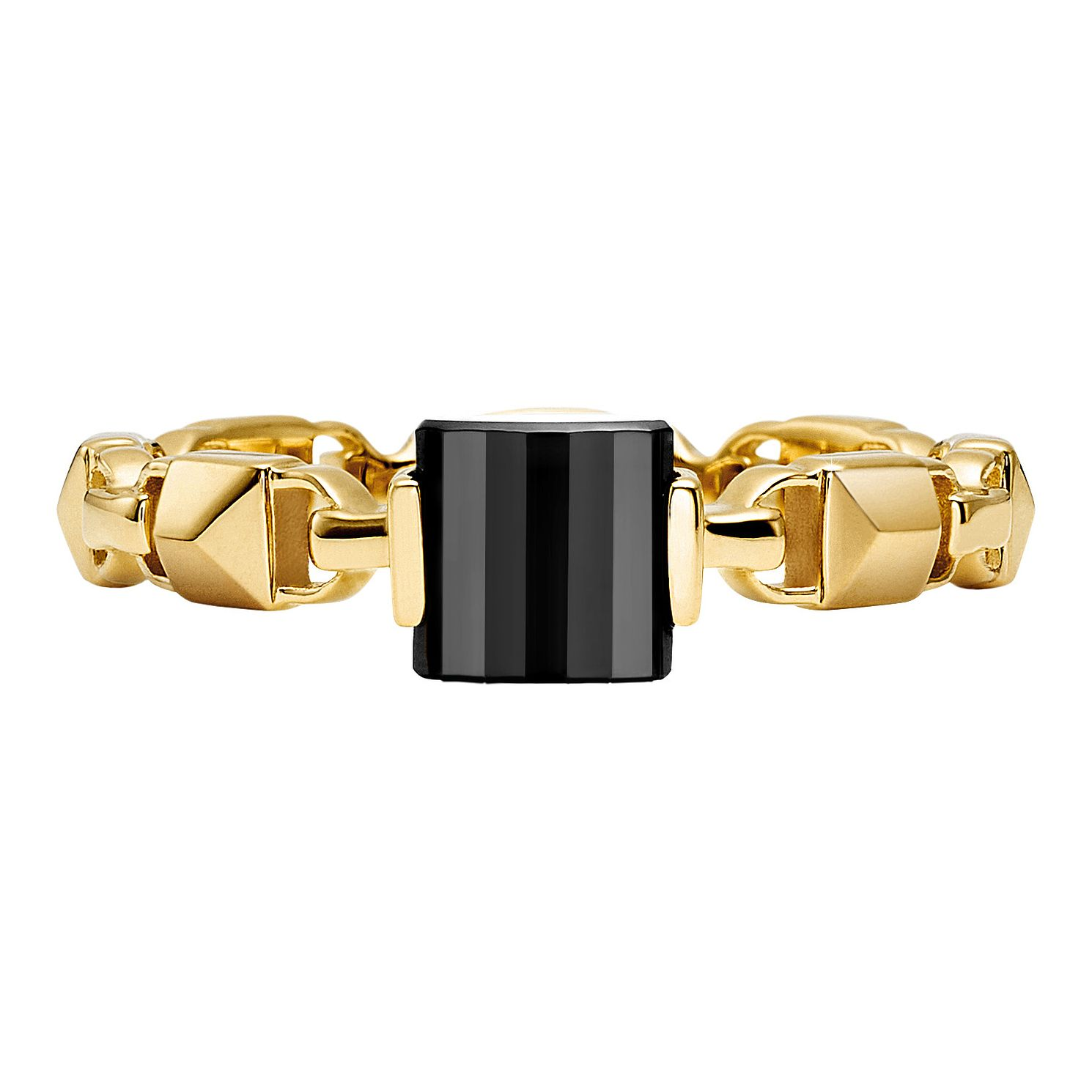 Michael Kors 14ct Gold Plated Silver Mercer Link Onyx Ring - Product number 9801340