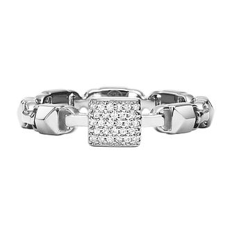 Michael Kors Sterling Silver Mercer Link Pave Ring - Product number 9801359