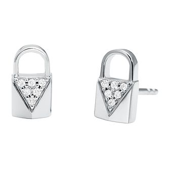 Michael Kors Sterling Silver Mercer Link Pave Stud Earrings - Product number 9801421