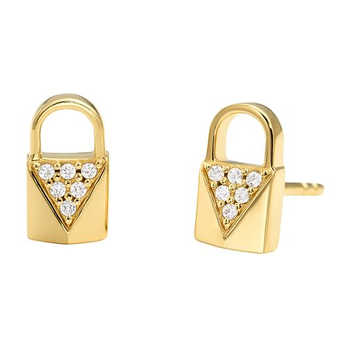 Michael Kors 14ct Gold Plated Silver Pave Stud Earrings - Product number 9801448