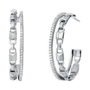 Michael Kors Sterling Silver Mercer Link Hoop Earrings - Product number 9801472