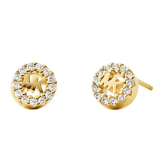 Michael Kors Yellow Gold Plated Silver Logo Stud Earrings - Product number 9801529