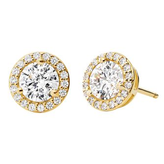 Michael Kors 14ct Gold Plated Silver Halo Stud Earrings - Product number 9801642