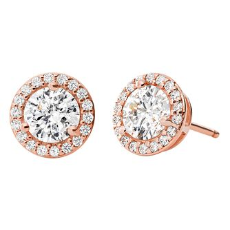 bb793545e18e Michael Kors 14ct Rose Gold Plated Silver Halo Stud Earrings - Product  number 9801650